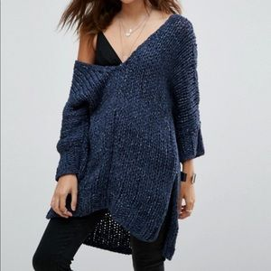 Free People Georgia V tunic sweater blue knitted